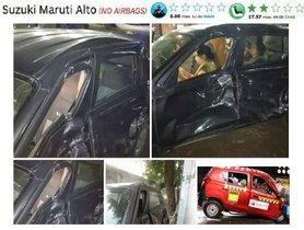 Maruti Alto (ZERO-Star NCAP) Dragged by Bus, ALL SAFE