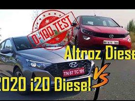 New Hyundai i20 Diesel vs Tata Altroz Diesel Acceleration Test (0-100kmph)