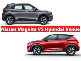 Nissan Magnite vs Hyundai Venue - Price Comparison