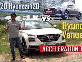 New Hyundai i20 VS Venue DCT 0-100 kmph Acceleration Test