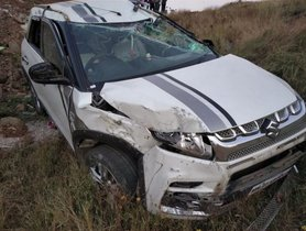 Maruti Vitara Brezza (4-star NCAP) Falls Into a 20-Foot Ditch, ALL SAFE