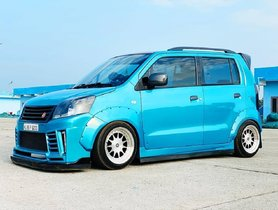 This Slammed Maruti Wagon R Looks Enticing, Dons Glorious Blue Paint Scheme