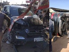 Cricketer Mohammed Azharuddin's Hyundai Santa Fe Overturns – All Safe