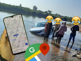 Honda Amaze Ends Up in River as Driver Follows Google Maps Too Seriously