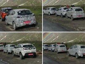 Tata Altroz Spied Testing Alongside BS6-compliant Tiago Facelift, Tigor Facelift And Nexon
