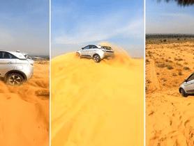 Tata Nexon Snapped While Dune Bashing in Jaipur