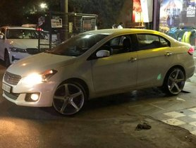 Maruti Ciaz Looks Like High-Heeled Damsel with 20-inch Rims & Low-profile Tyres