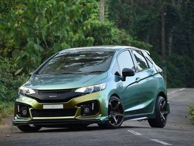 Modified Honda Jazz Looks Like an Angry Frog with Green Wrap