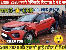 Tata Nexon (5-star G-NCAP) gets Rear-ended by Truck, Keeps All Occupants Safe - VIDEO