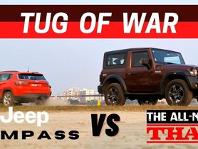 Jeep Compass Vs Mahindra Thar In a CLASSIC Tug Of War