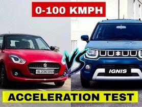 2021 Maruti Swift VS Ignis Facelift Acceleration Test