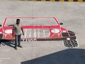 Biggest-ever Mahindra Thar Rangoli gets Registered in India Book of Records