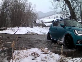 Check Out This Suzuki Ignis Crossing A River In Snowy Romania