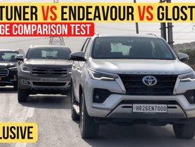 MG Gloster vs Toyota Fortuner vs Ford Endeavour - Mileage Comparison
