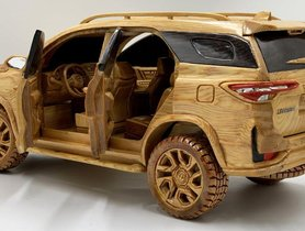 Check Out This Incredibly Detailed Wood Carving Of The Toyota Fortuner Legender - VIDEO