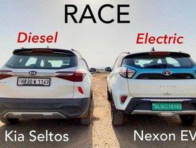 Tata Nexon EV VS Kia Seltos Diesel in a Classic Drag Race - Video