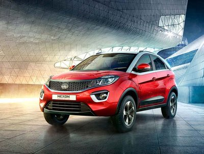 Tata Nexon India 2018 Exterior Front look red and black color