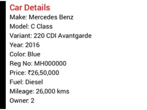Used 2016 C-Class C 220 CDI Avantgarde  for sale in Mumbai